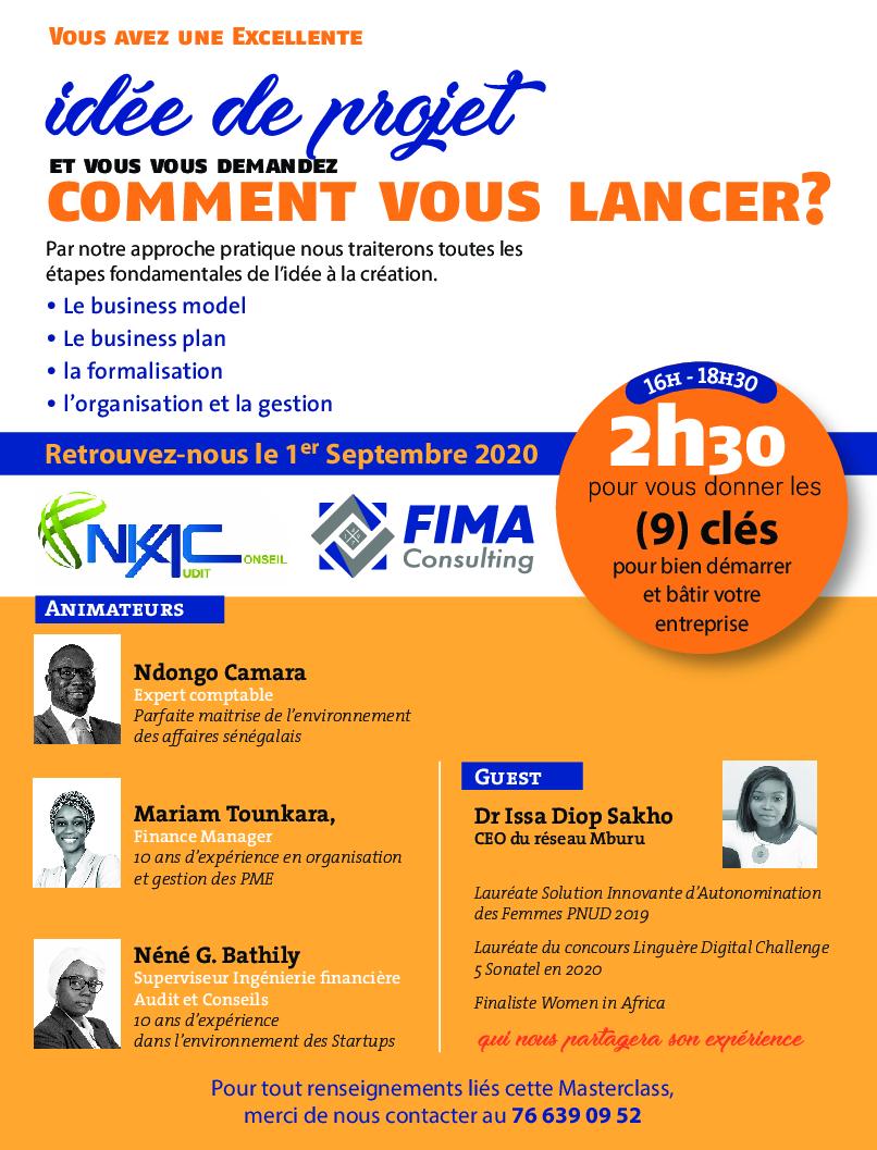 """(Français) MASTER CLASS """"IDEE DE PROJET ET VOUS DEMANDEZ  COMMENT VOUS LANCER?"""""""